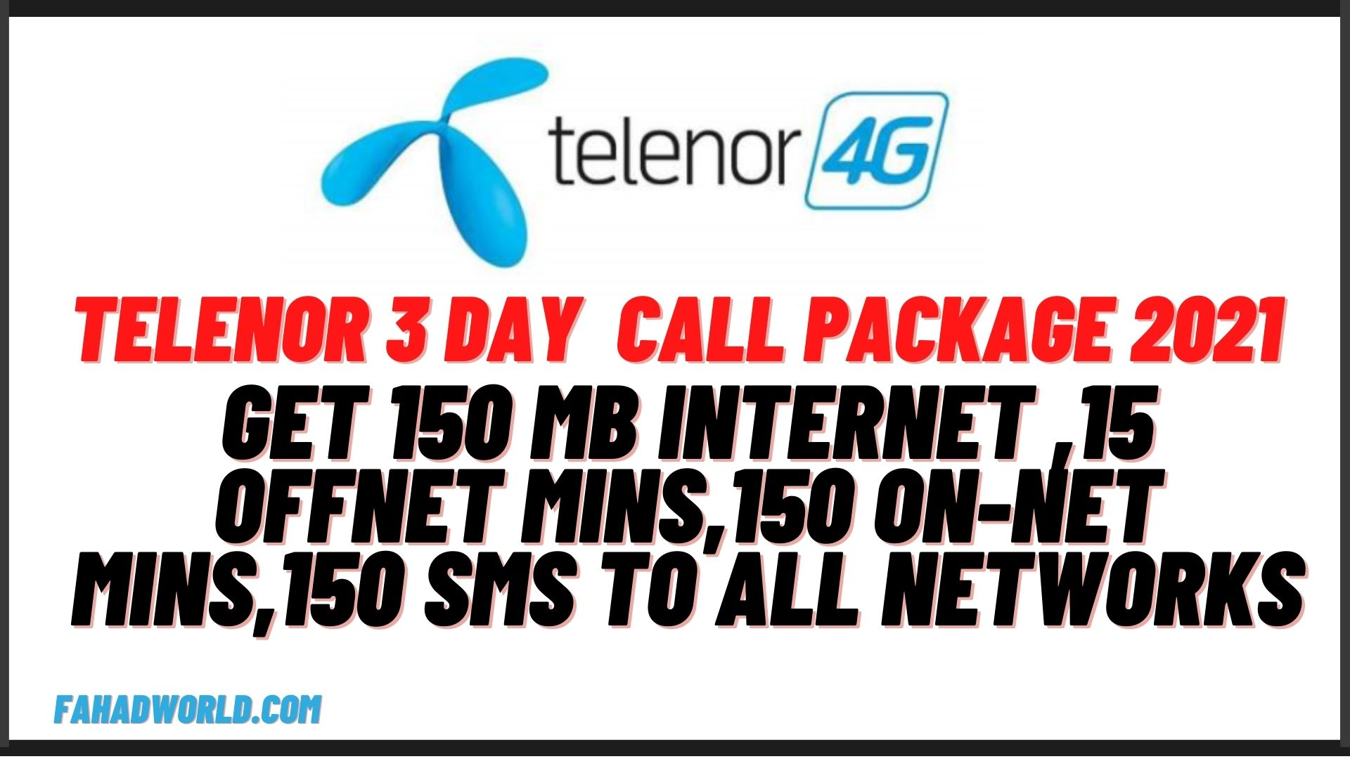 telenor 3 day call package code