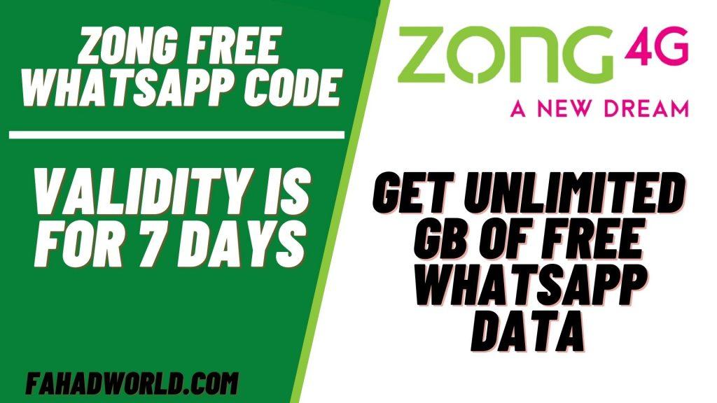 zong free whatsapp code