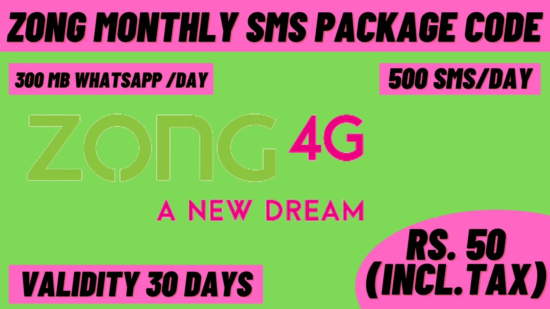 Zong Monthly SMS Package Code